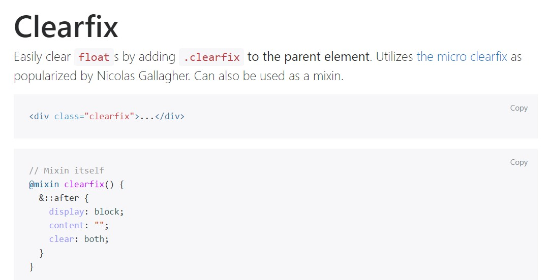 Bootstrap clearfix  main  information