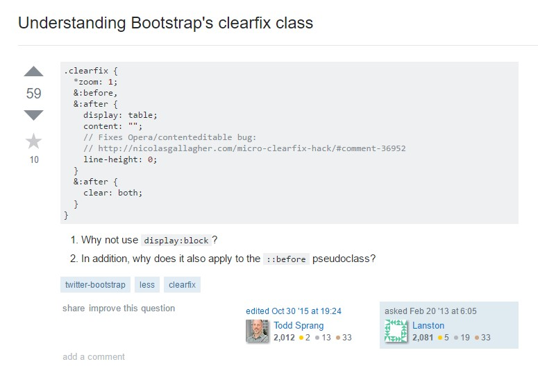 Knowing Bootstrap's clearfix class
