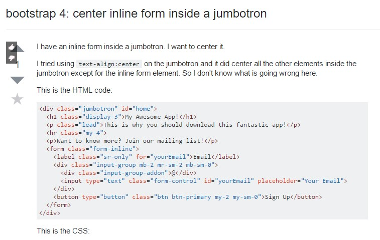 Bootstrap 4: center inline form inside a jumbotron
