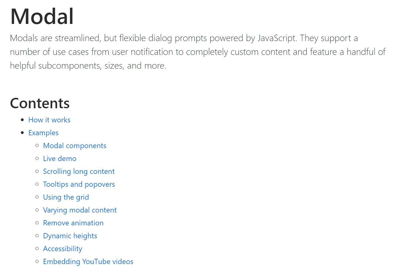 Bootstrap Modal Popup:  formal documentation