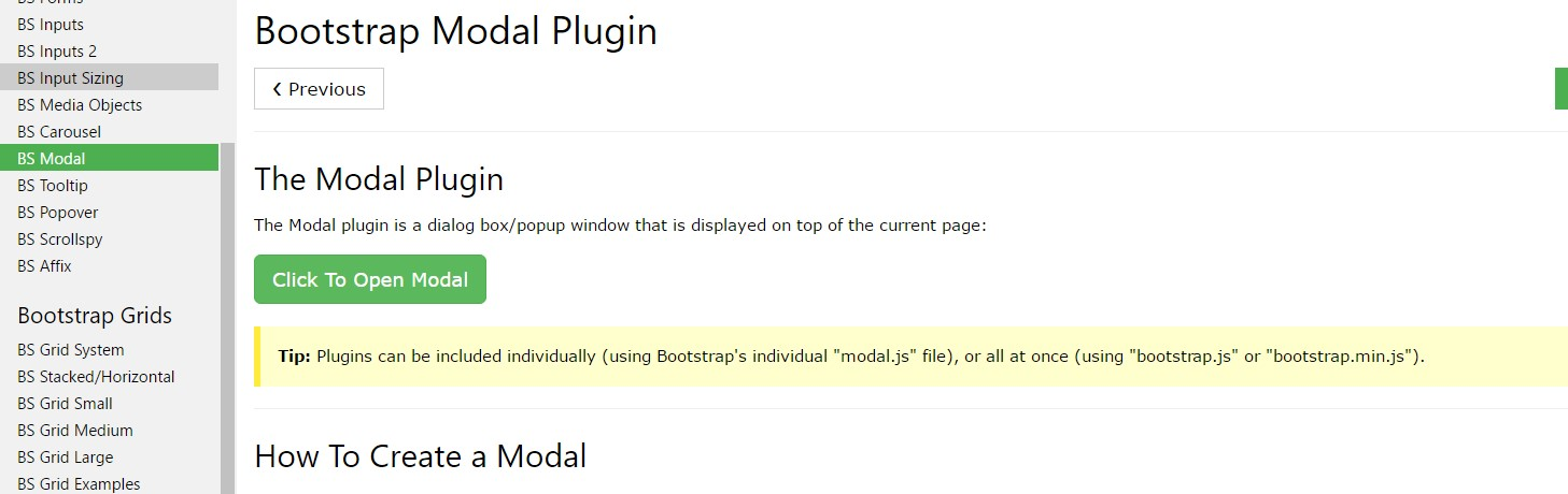 Bootstrap modal  short training
