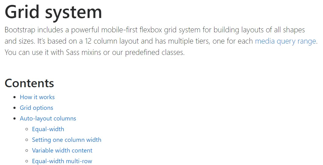 Bootstrap grid official  information