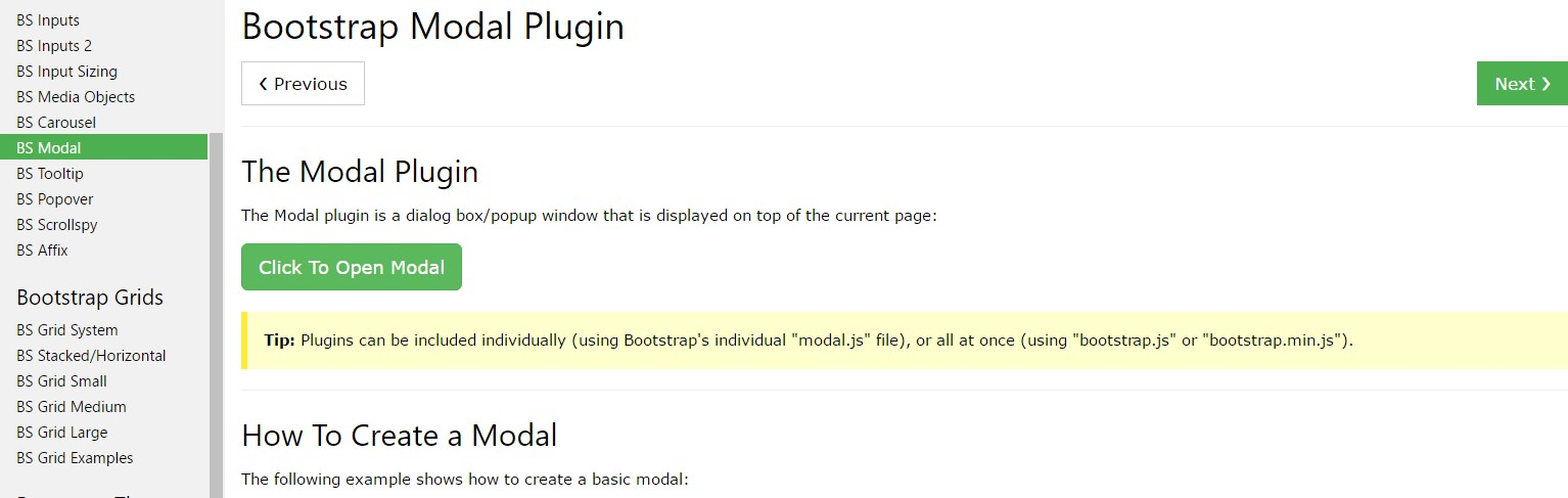 Bootstrap Modal Popup:  information tutorial