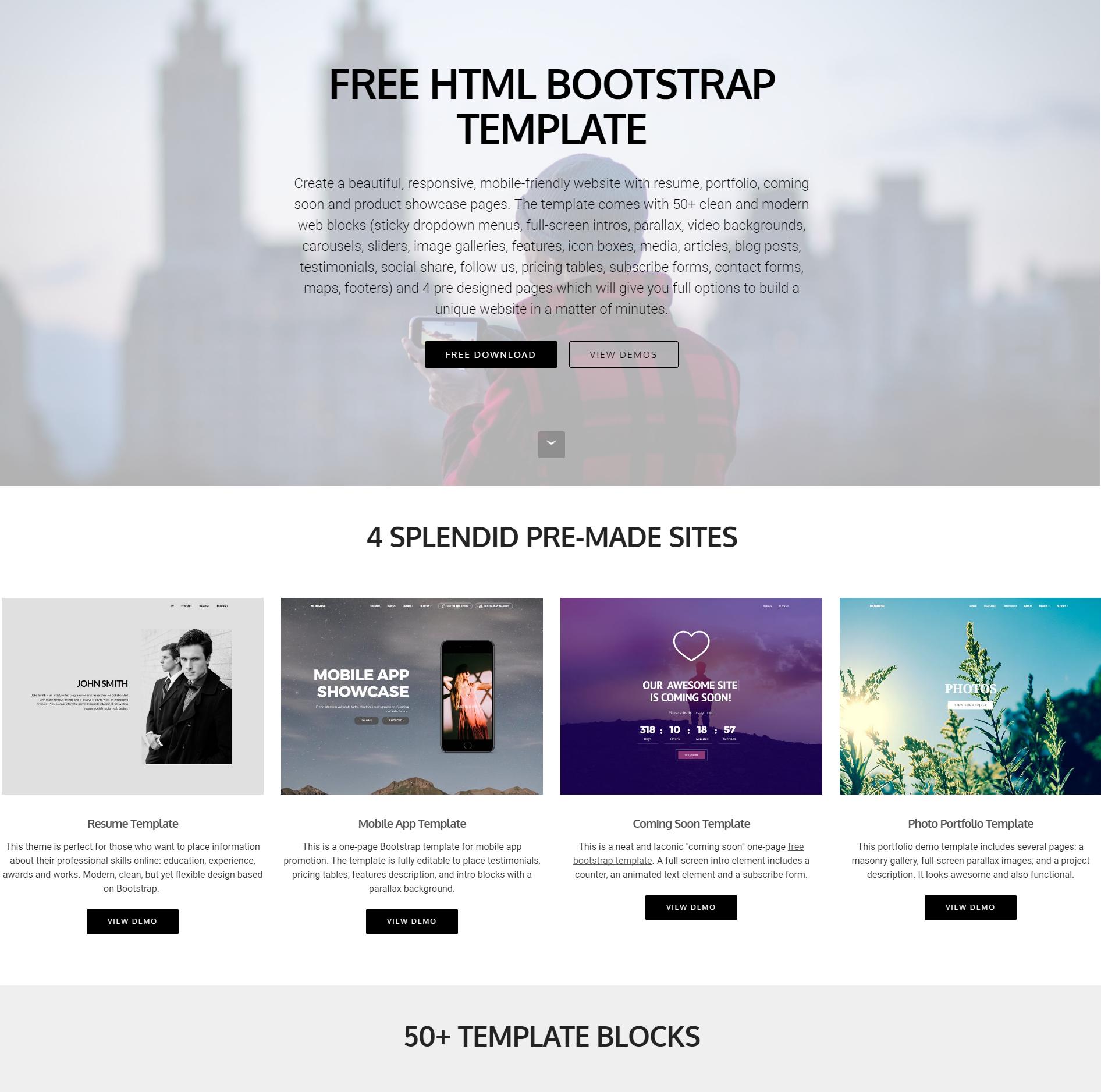 HTML5 Bootstrap 4 Blocks Templates
